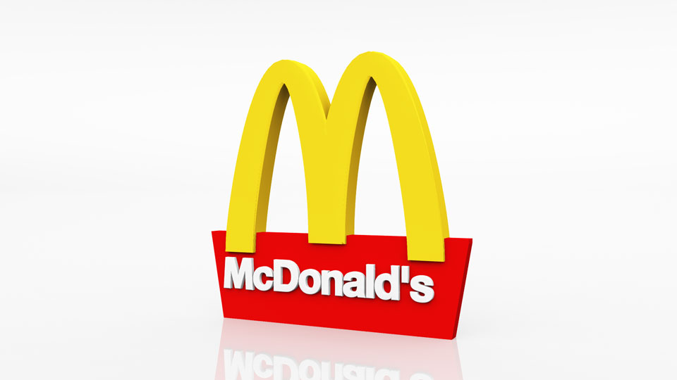 Logo 3D Mc Donald's blanc
